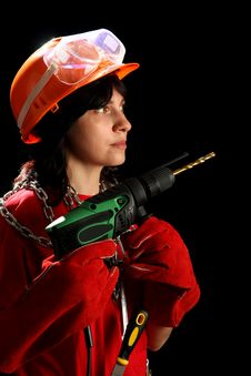 Free Young Woman With Drill Stock Photo - 8879050
