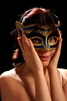 Free Young Brunette With Venetian Mask Royalty Free Stock Image - 8879946