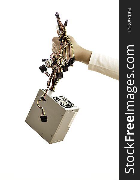 Hand holding power supply