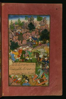 Free Illuminated Manuscript Depicting Babur S Defeat Of The Afghans At The Jagdalek Pass, From Baburnamah, Walters Art Museum, Ms. Stock Image - 88753031
