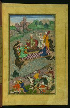 Free Babur, During His Second Hindustan Campaign, Riding A Raft From Kunar Back To Atar, From Illuminated Manuscript Baburnama &x28;Me Royalty Free Stock Images - 88753189
