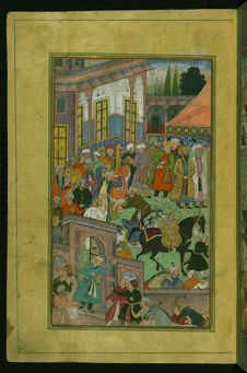 Free An Awards Ceremony In The Sultan Ibrāhīm's Court Before Being Sent On An Expedition To Sambhal, From Illuminated Manuscript Ba Royalty Free Stock Image - 88753206