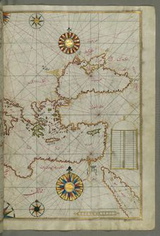 Free Map Of The Eastern Mediterranean, Aegean And The Black Sea, From Book On Navigation, Walters Art Museum Ms. W.658, Fol.63b Stock Photo - 88753210