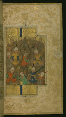 Free The Garden Party From Collection Of Poems &x28;divan&x29;, Walters Art Museum Ms. W.631, Fol.150b Royalty Free Stock Photography - 88753237