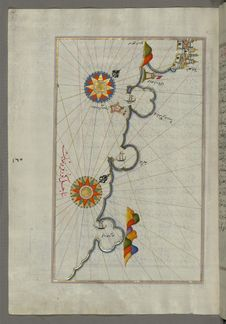 Free Illuminated Manuscript, Map Of The Coast From Medulin As Far As Pula &x28;Croatia&x29; From Book On Navigation, Walters Art Muse Stock Photography - 88753412