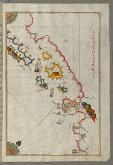 Free Illuminated Manuscript, Map Of The Adriatic Coastline From Dubrovnik North From Book On Navigation, Walters Art Museum Ms.W.658, F Stock Images - 88753444