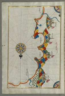 Free Illuminated Manuscript, Map Of Eastern Coast Of Calabria Around Rossano From Book On Navigation, Walters Art Museum Ms. W.658, Fol Stock Images - 88753454