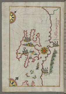 Free Illuminated Manuscript, Map Of The Island Of Krk &x28;Veglia, Vake Venedīk&x29; &x28;Croatia&x29; From Book On Navigation, Wa Stock Photos - 88753533