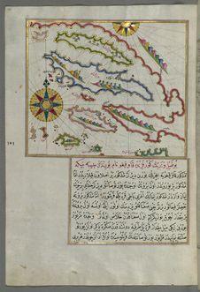 Free Illuminated Manuscript, Map Of A Group Of Islands North Of Korčula &x28;Qūrsūlah&x29;, Probably Hvar And Brač &x28;Croatia& Stock Photo - 88753570