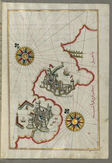 Free Illuminated Manuscript, Map Of The Coastline Between The Cities Of Koper &x28;Capodistria, Dishtriye&x29; And Muggia &x28;Milj Stock Photos - 88753583