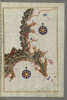 Free Illuminated Manuscript, Map Of The Anatolian Coast East Of Finike From Book On Navigation, Walters Art Museum Ms. W.658, Fol.336b Stock Images - 88753644