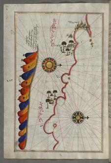 Free Illuminated Manuscript, Map Of The Libyan Coast From Tripoli &x28;Ṭarābulus-i Maghrib&x29;east Towards Egypt From Book On Nav Stock Photography - 88753662