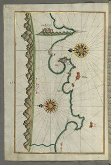 Free Illuminated Manuscript, Map Of The Anatolian Coast With The City Of Silifke From Book On Navigation, Walters Art Museum Ms. W.658, Royalty Free Stock Photo - 88753715
