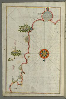 Free Illuminated Manuscript, Map Of The &x22;Syrian Coast&x22; And The Cities: Gaza &x28;Ghazzah&x29; And Ramlah &x28;present-day Stock Image - 88753731