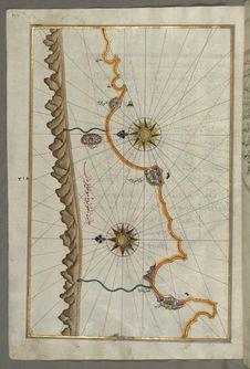 Free Illuminated Manuscript, Map Of The Anatolian Coast Around Anamur &x28;Turkey&x29; From Book On Navigation, Walters Art Museum Ms Royalty Free Stock Photos - 88753848