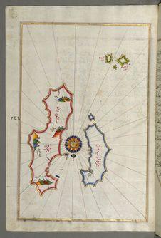 Free Illuminated Manuscript, Map Of Two Islands: Santorini &x28;Ṣāntūrūn&x29; And Thera &x28;Thira&x29; In The Aegean Sea, Nor Royalty Free Stock Images - 88753859