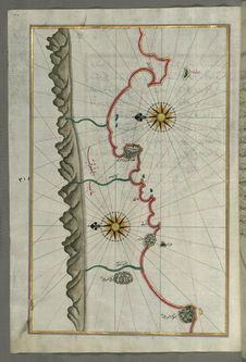 Free Illuminated Manuscript, Map Of The Anatolian Coast From Silfke To Anamur From Book On Navigation, Walters Art Museum Ms. W.658, Fo Royalty Free Stock Images - 88753879