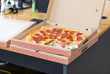 Free Salami Pizza In Box Stock Photo - 88756080