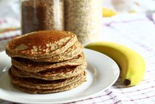 Free Pile Of Pancakes With Banana Stock Images - 88756214