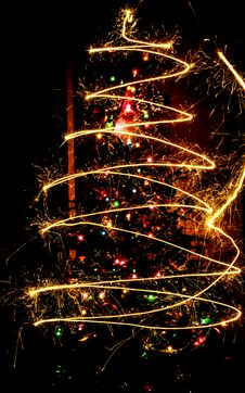 Free Christmas Tree And Sparklers Royalty Free Stock Photography - 88757167