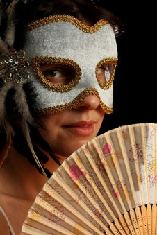 Free Young Brunette With Venetian Mask And Spanish Fan Stock Images - 8880034