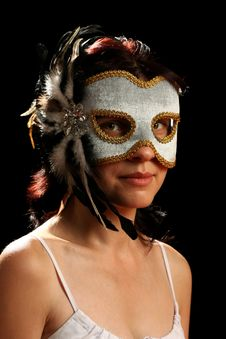 Free Young Brunette With Venetian Mask Royalty Free Stock Photos - 8880128