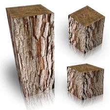 Square Trunk Of Tree Stock Images