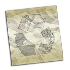 Free Crumpled Paper With Recycling Symbol Royalty Free Stock Image - 8884496
