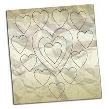 Free Crumpled Paper With Drawings Of Hearts Stock Image - 8884541