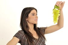 Free Girl And Grape Stock Image - 8886821