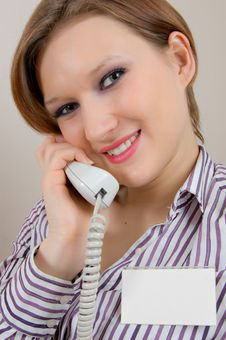 Free Girl With A Telephone Handset Royalty Free Stock Image - 8888566