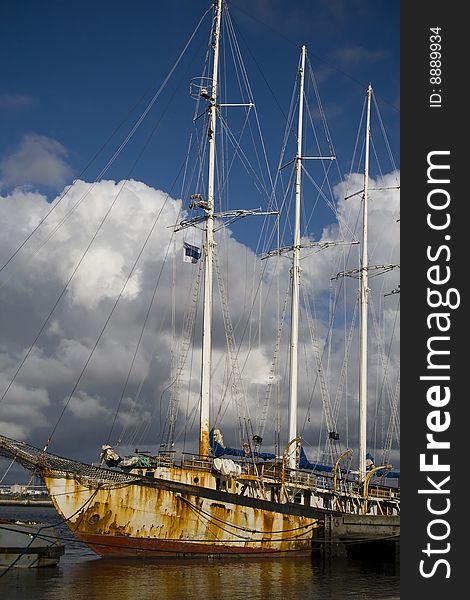 Old rusty tall ship