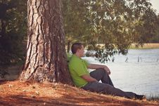 Free Man Leaning On Tree Royalty Free Stock Image - 88894706