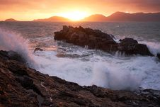 Free Waves Crashing Onto A Rocky Promontory  Royalty Free Stock Image - 88895286