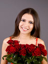 Free Sweet Young Woman With Roses Stock Photography - 8899032