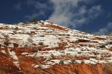 Free Snow On The Mesa- Zion National Park 7 Stock Photo - 8891050