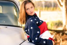 All American Patriot Country Girl Royalty Free Stock Image