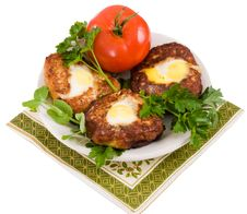 Free Cutlets And A Tomato. Stock Photo - 8892910