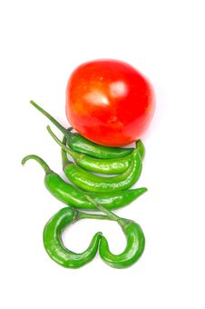 Free Green Chillies And Tomato Royalty Free Stock Photography - 8895167
