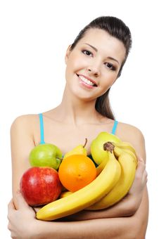 Free Laughing Young Woman With Fruits Royalty Free Stock Image - 8895636