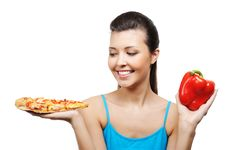 Woman Pizza And Pepper Stock Image