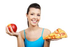 Free Young Woman With Pizza And Red Apple Royalty Free Stock Photos - 8895728