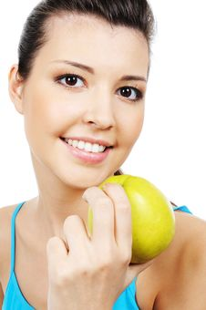 Free Beauty Woman And Green Sweet Apple Stock Photo - 8895910