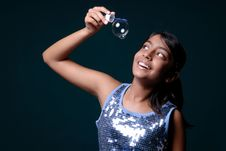 Free Cute Girl Holding A Soap Bubble Stock Photo - 8896460