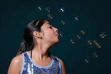 Free Girl Blowing Lot Of Bubble Stock Photos - 8896553