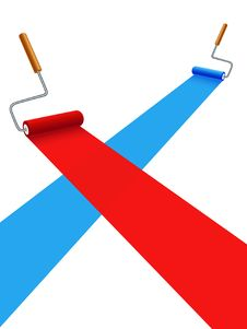 Free Blue And Red Painting Rollers Royalty Free Stock Photos - 8896908