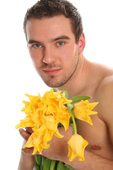 Free Man With Yellow Tulips Royalty Free Stock Image - 8897856