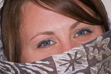 Free Young Woman S Closeup Blue Eyes With Gray Scarf Royalty Free Stock Image - 8898056