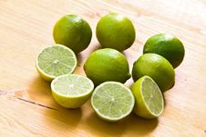 Free Many Ripe Limes On A Cutting Board Royalty Free Stock Image - 8898546
