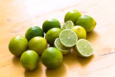Free Many Ripe Limes On A Cutting Board Royalty Free Stock Photo - 8898555